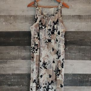 Merona floor length taupe floral maxi dress